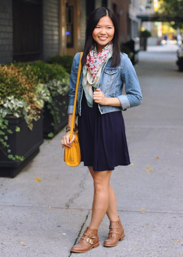 Skirt The Rules Blog; NYC fashion blogger; fall fashion; how to wear boots with a dress; Forever 21 navy dress; Forever 21 floral scarf; American Eagle denim jacket; 3.1 Phillip Lim for Target yellow crossbody satchel bag; Michael Kors tortoise boyfriend watch; DSW cognac ankle booties