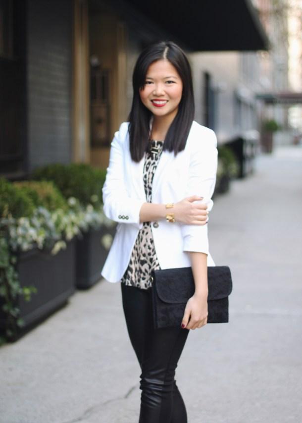 Zara White Blazer; C. Wonder Leopard Peplum Top