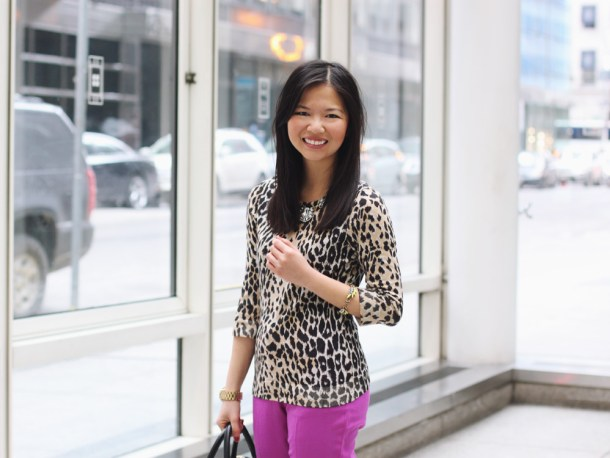 Leopard Sweater & Radiant Orchid Pants