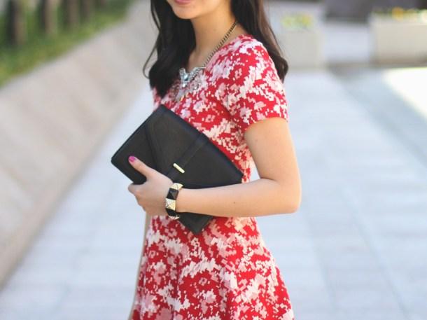 Red Dress & Black Clutch
