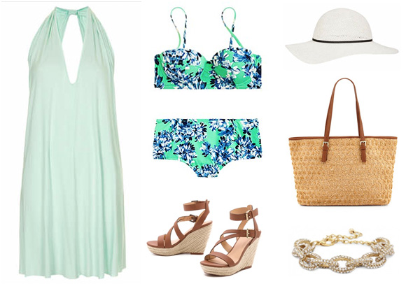 Turquoise Floral Swimsuit and Coverup
