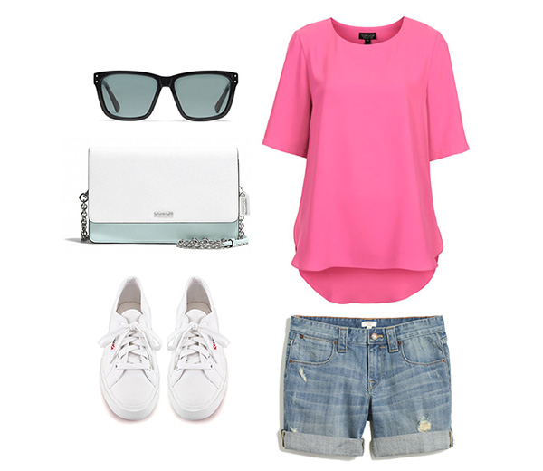 Neon Pink Top with Denim Shorts