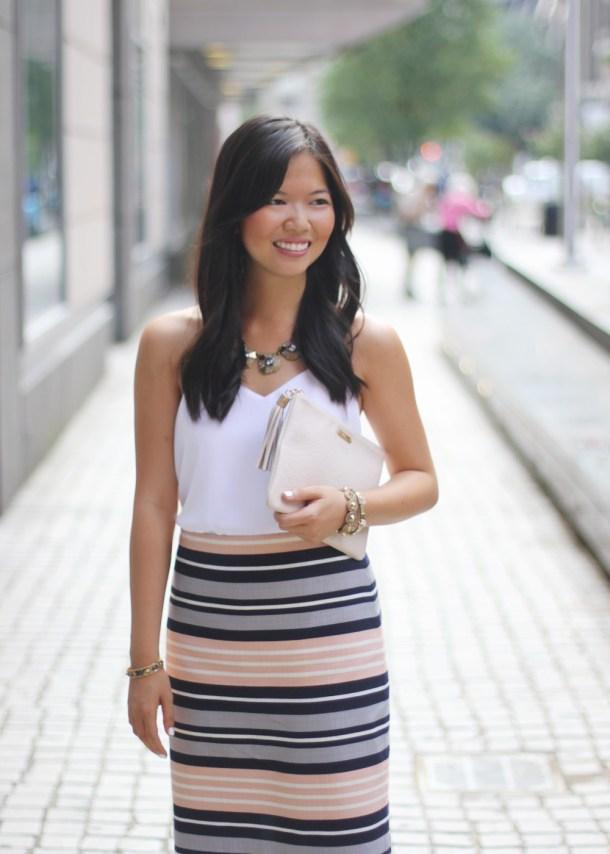 Navy & Peach Striped Pencil Skirt