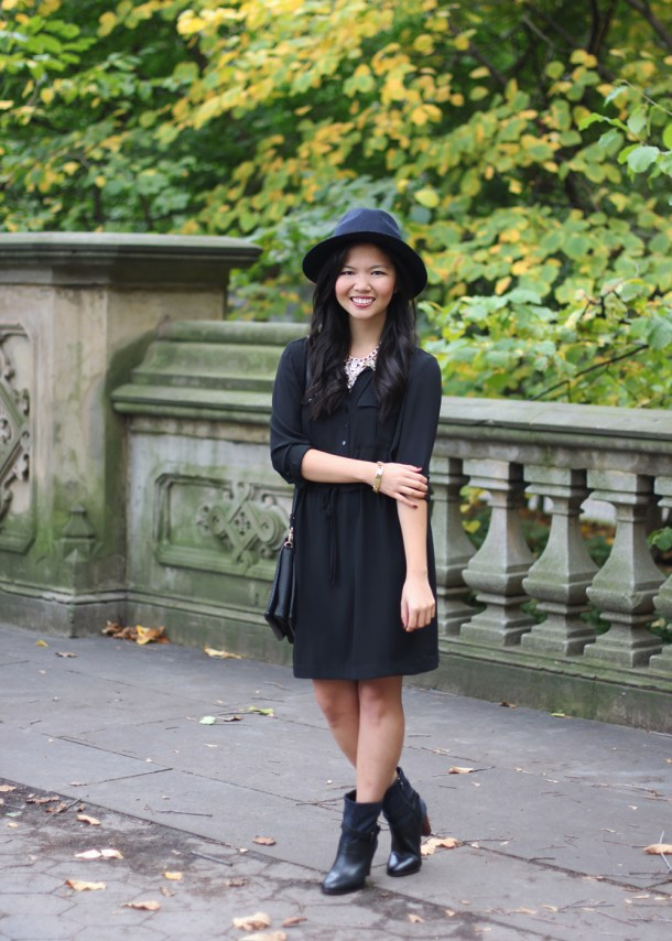 Black Shirt Dress & Navy Hat