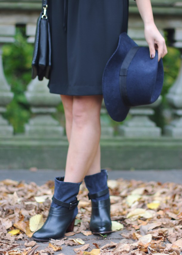 Black Leather & Navy Suede Boots