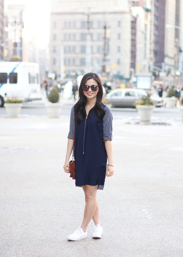 Skirt The Rules // Navy Striped Shirtdress