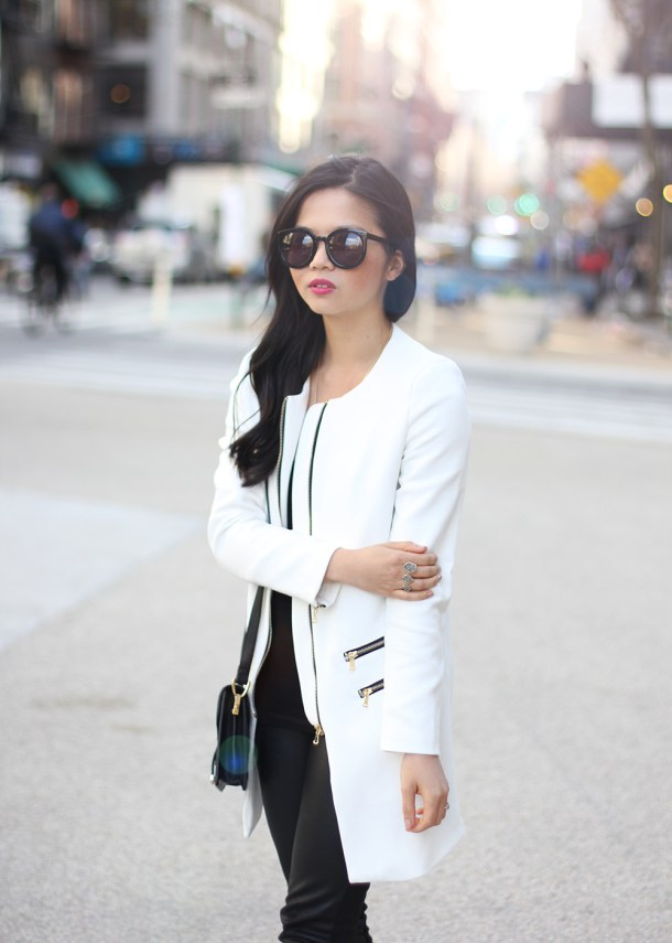 Skirt The Rules // White Spring Coat