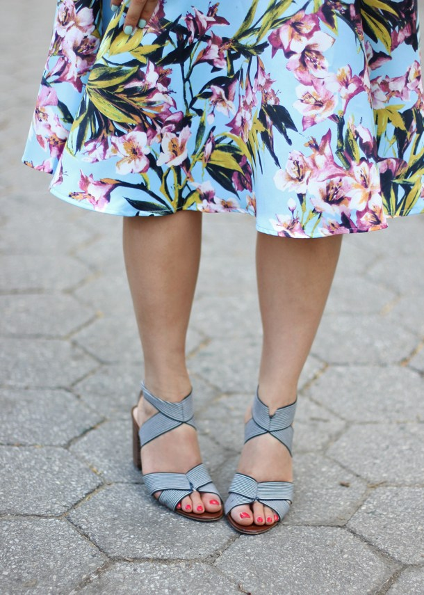 Skirt The Rules // Blue & Pink Floral Skirt & Navy Stripe Heels