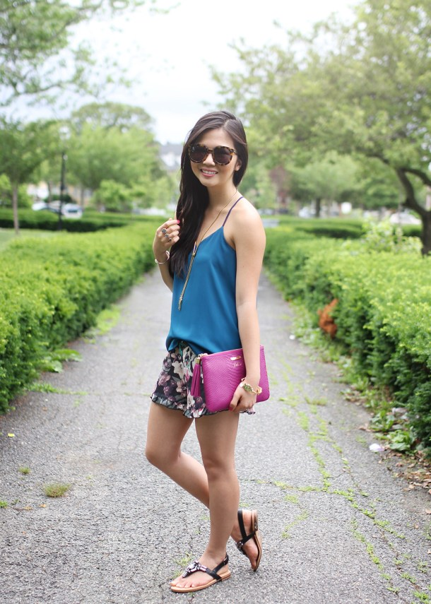 Skirt The Rules // Teal Cami & Floral Shorts
