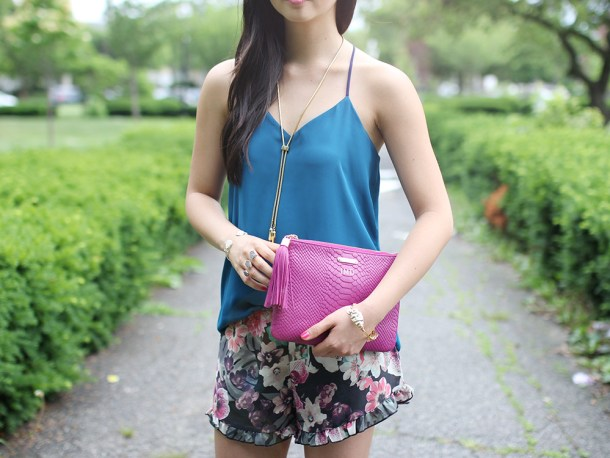 Skirt The Rules // Floral Shorts & Pink Tassel Clutch