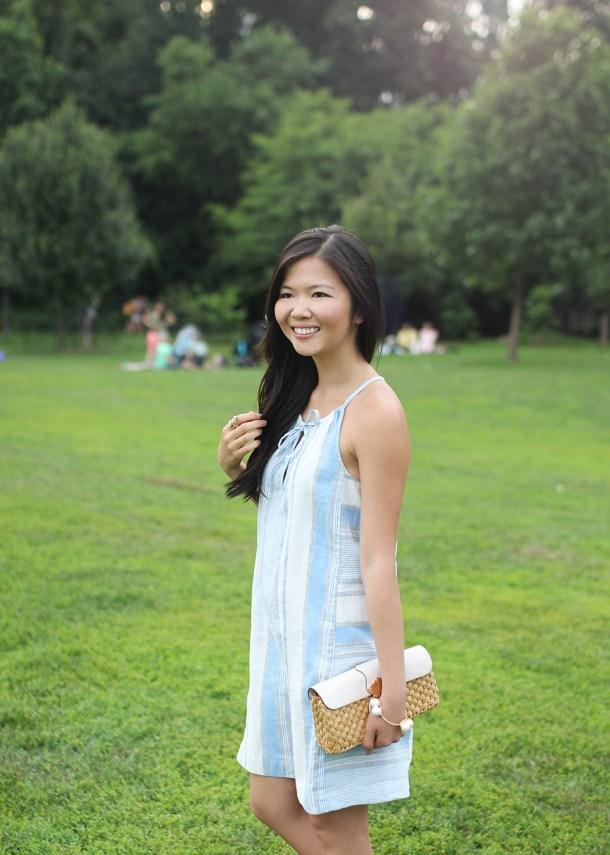 Skirt The Rules // Blue & White Striped Linen Dress