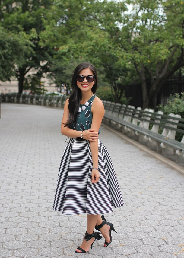 Skirt The Rules // Teal Floral Top & Striped Midi Skirt