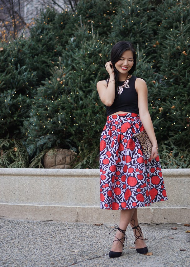 Skirt The Rules / Rose Print Midi Skirt
