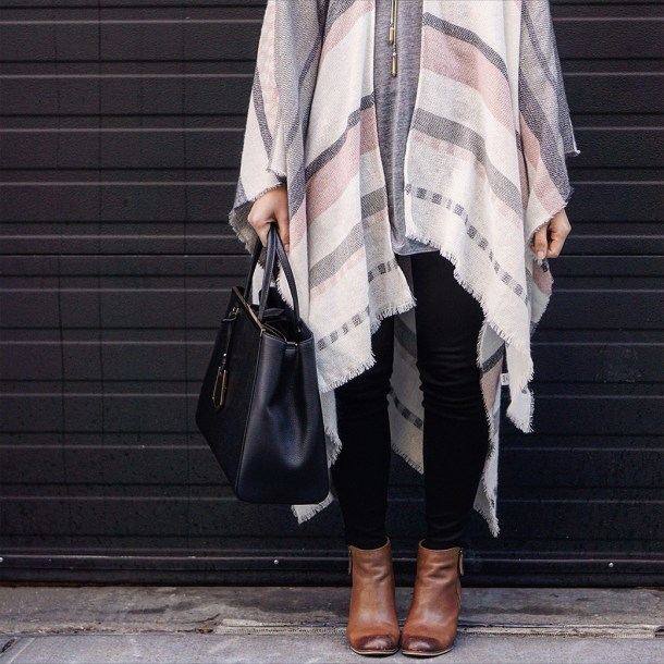 Skirt The Rules / Pink & Grey Poncho