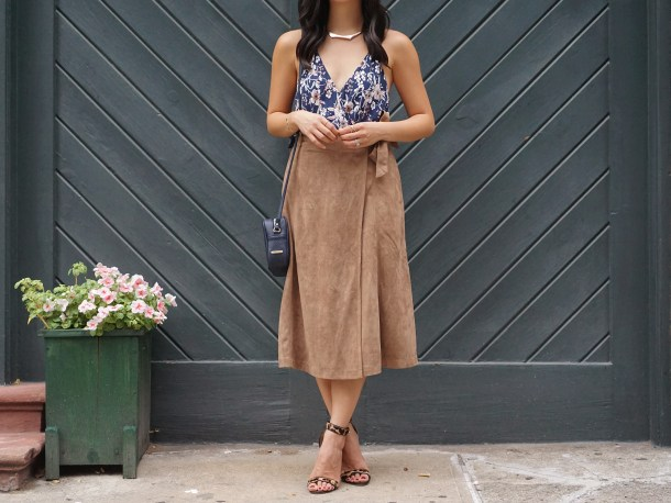 Skirt The Rules / Fall Floral Top & Suede Midi Skirt