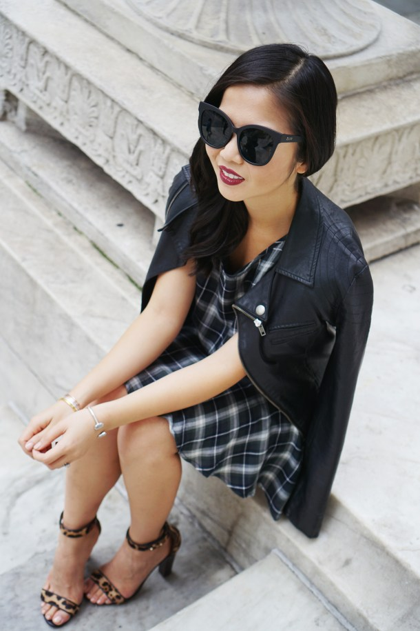 Skirt The Rules / Plaid Dress & Leather Moto JAcket