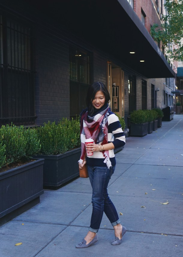 Cute Fall Outfit: Striped Sweater & Skinny Jeans