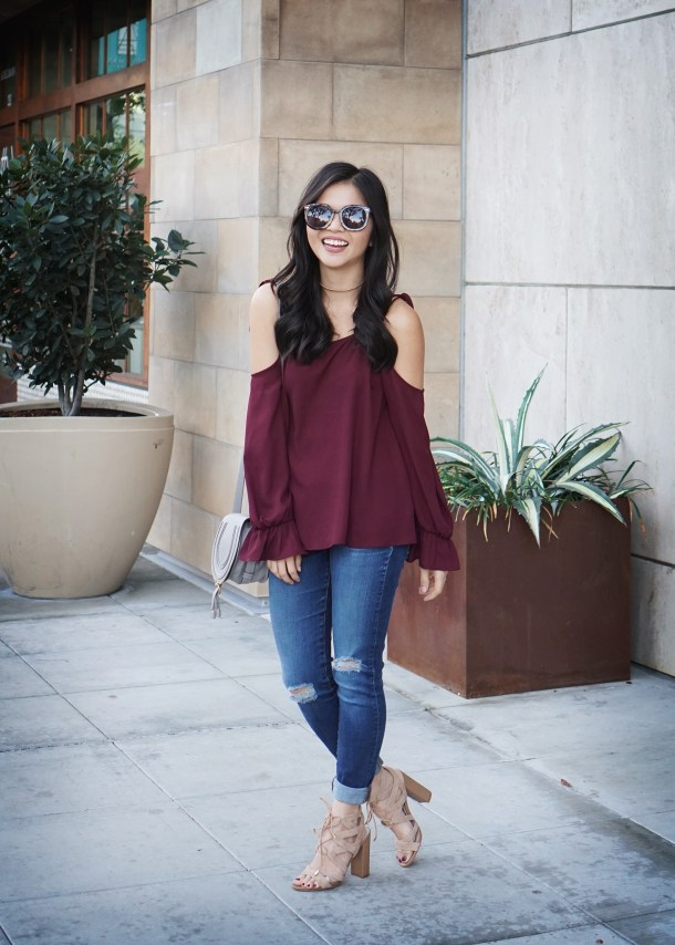 Skirt The Rules / Burgundy Cold Shoulder Top & Skinny Jeans