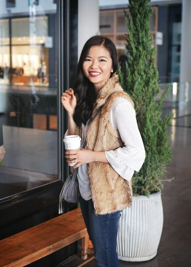 Winter Weekend Style: Faux Fur Vest & Ruffle Sleeve Blouse