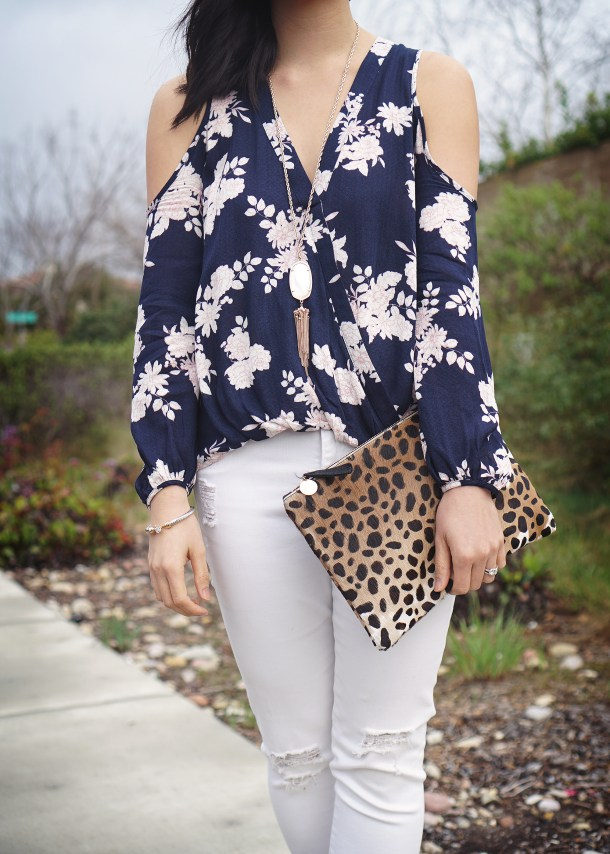 Skirt The Rules / Floral Cold Shoulder Top