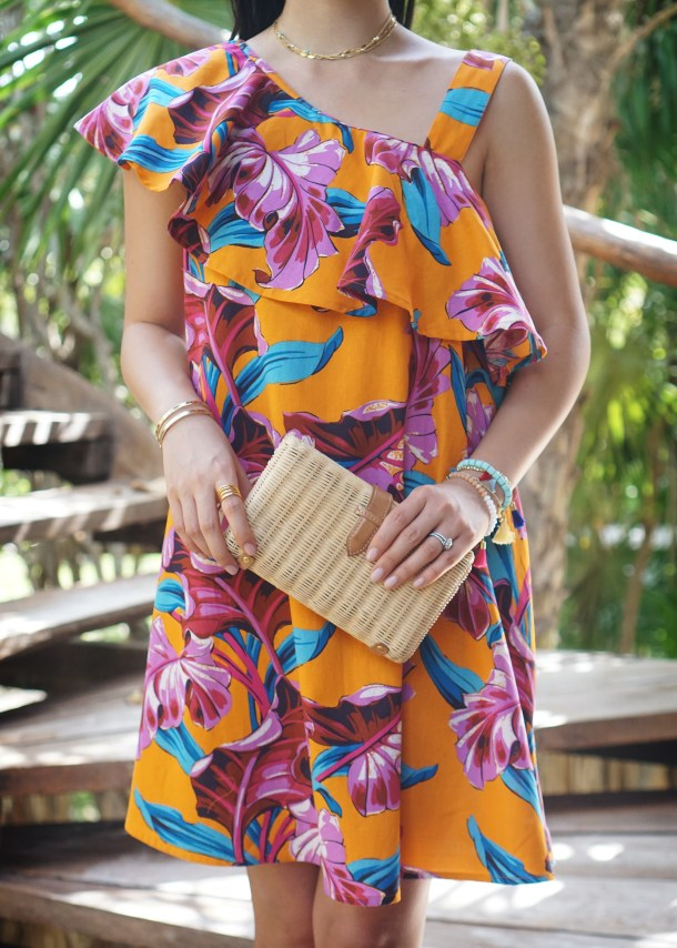 Vacation Style / Tropical Dress & Straw Clutch
