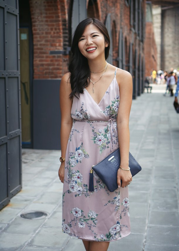What to Wear to a Summer Wedding / Satin Floral Wrap Dress