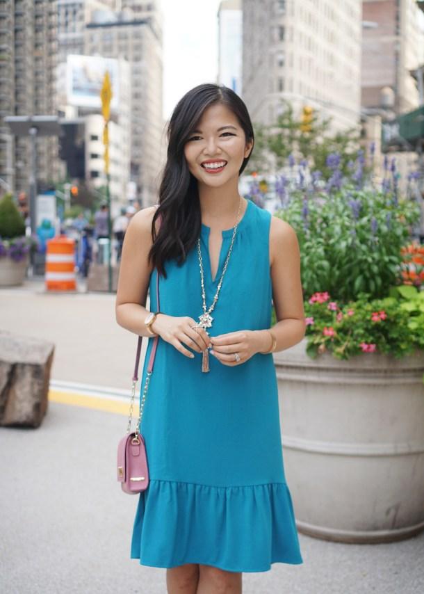 Summer Office Style: Turquoise Drop Waist Dress