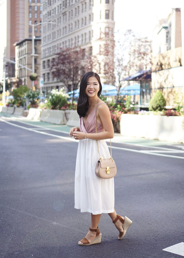 Neutral Style Inspiration: Blush Wrap Bodysuit and White Midi Skirt