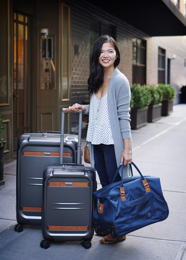 Travel Outfit Inspiration & Affordable Hardcase Luggage