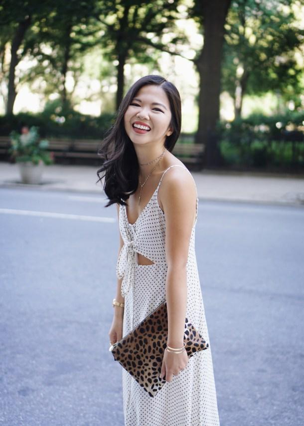Summer Style Inspiration: Black & White Print Tie Front Slip Dress