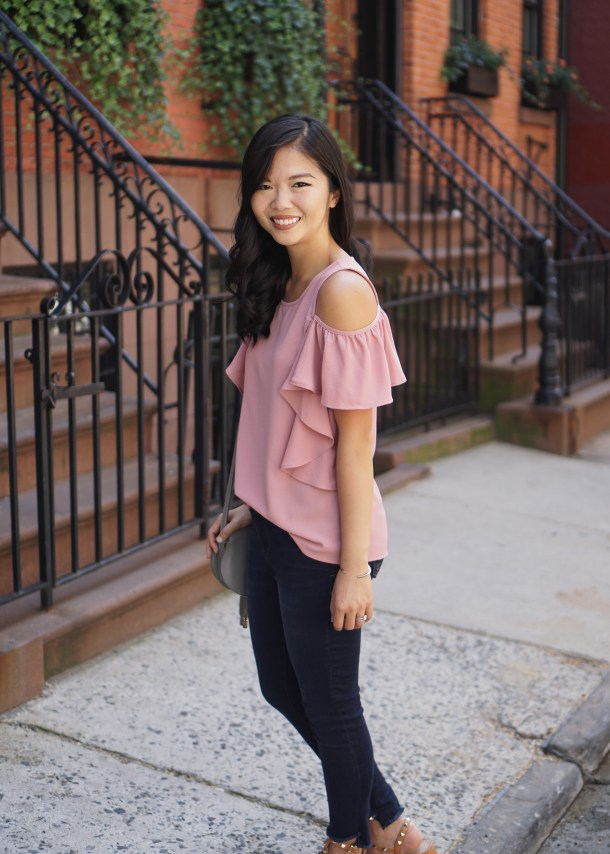 Casual Outfit Inspiration / Ruffle Cold Shoulder Top & Step Hem Jeans