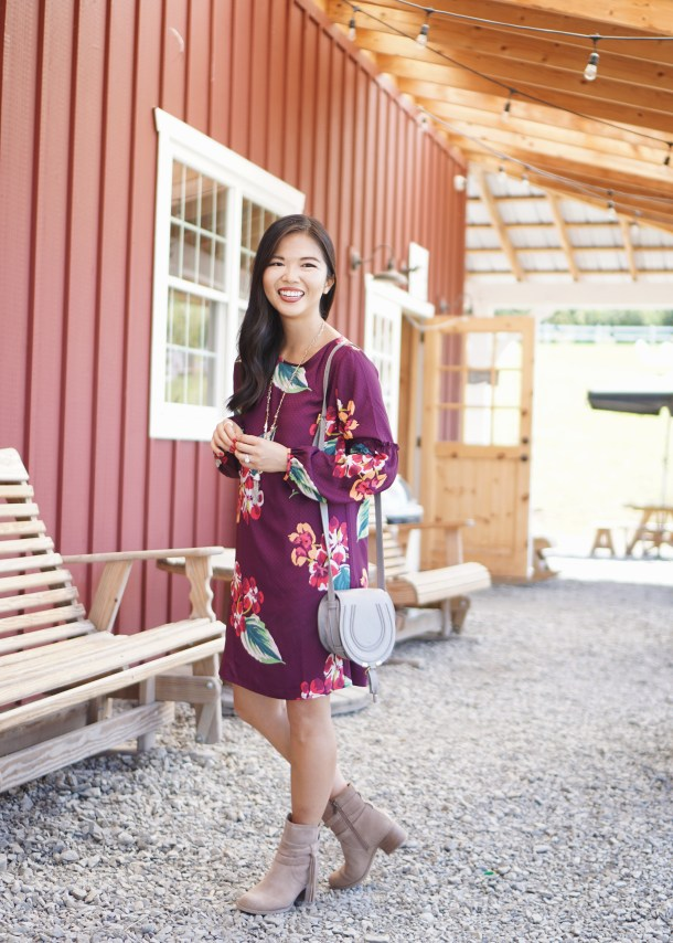 Fall Outfit Inspiration: Long Sleeve Floral Dress
