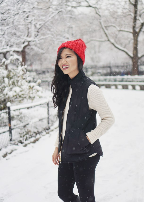 Winter Fashion Inspiration: Puffer Vest & Pom Pom Beanie