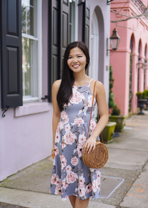 Spring Outfit Idea / Gray & Pink Floral Dress
