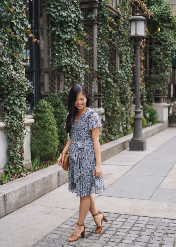 Spring Outfit Idea / Floral Dress & Straw Circle Bag