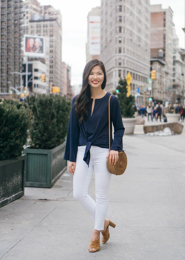 Spring Style / Navy Tie Front Top & White Jeans