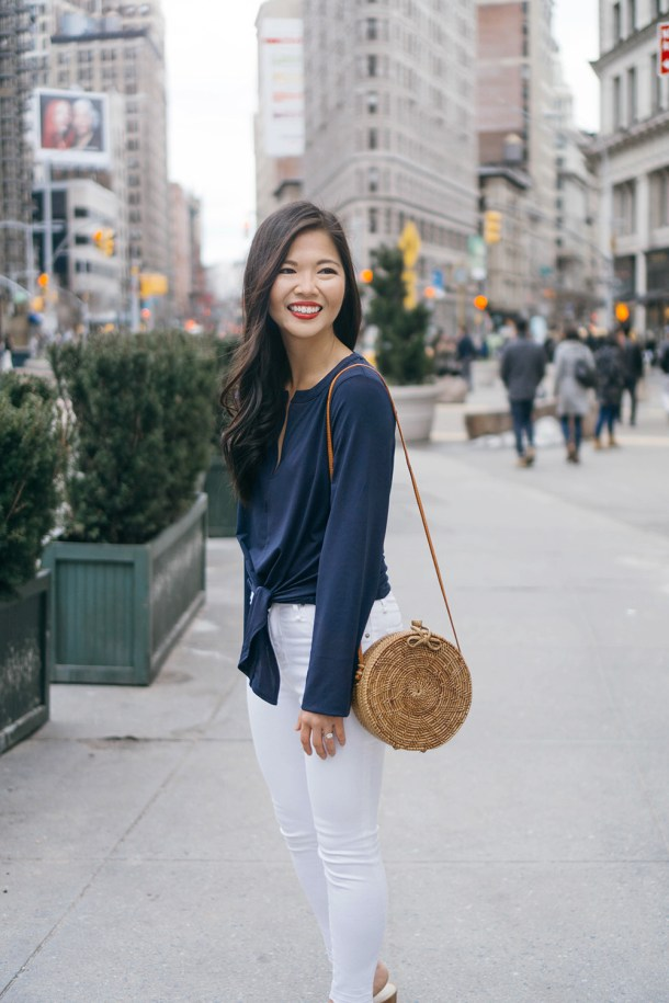 Casual Outfit Inspiration / Bell Sleeves & Straw Circle Bag