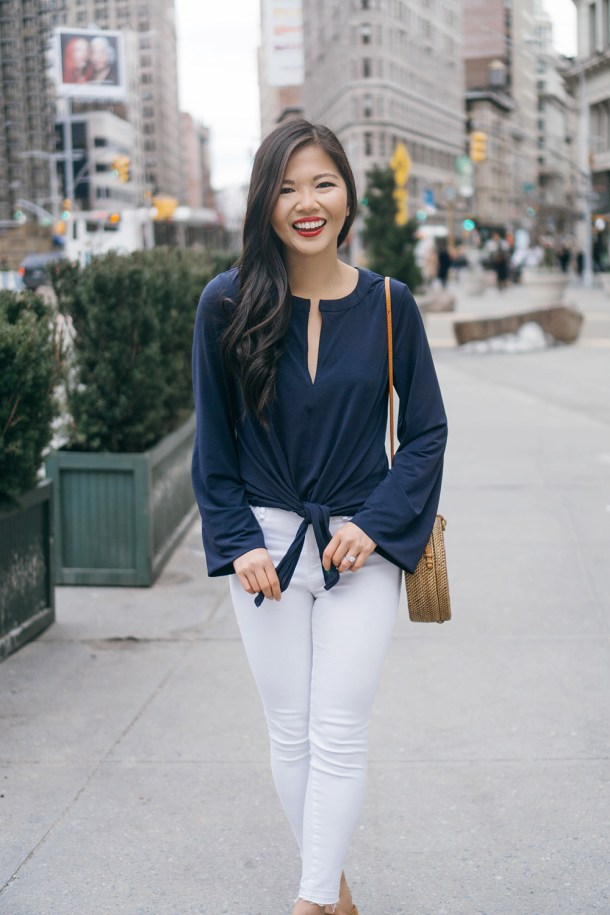Spring Style Inspiration / Navy Bellsleeve Top & White Skinny Jeans