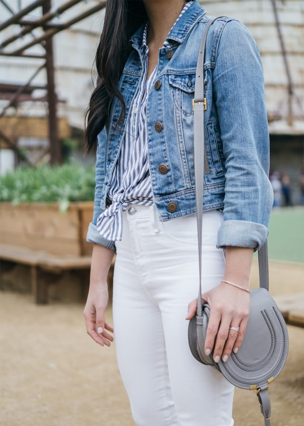 Casual Spring Outfit / Denim Jacket & White Skinny Jeans
