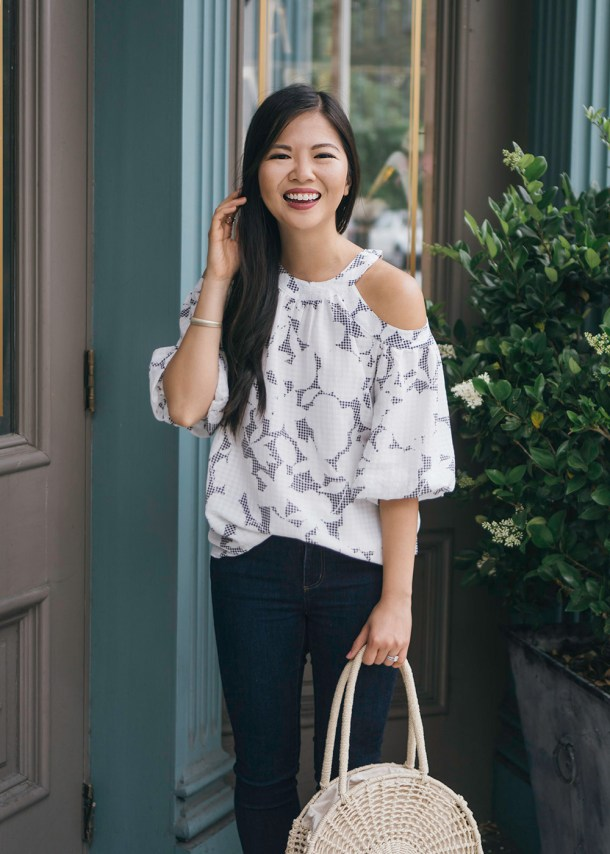 Floral Cold Shoulder Top & Dark Blue Skinny Jeans