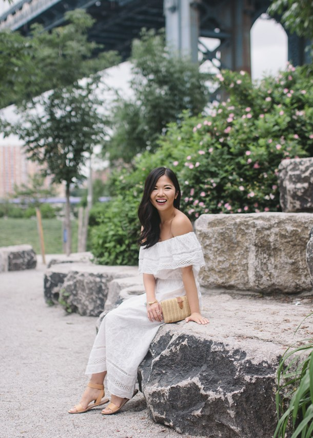 Summer Fashion / White Off the Shoulder Maxi Dress