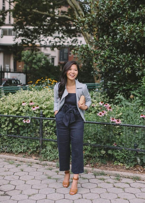 Summer Style / Linen Jumpsuit & Moto Jacket