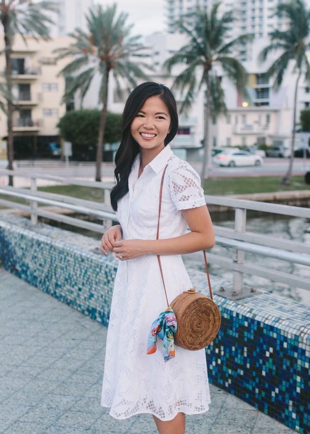 Preppy Style / White Floral Shirtdress