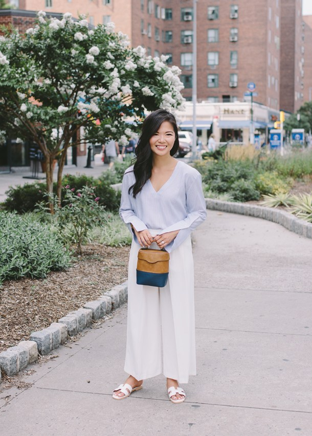 Summer Style / Light Blue Bell Sleeve Top & White Wide Legged Pants