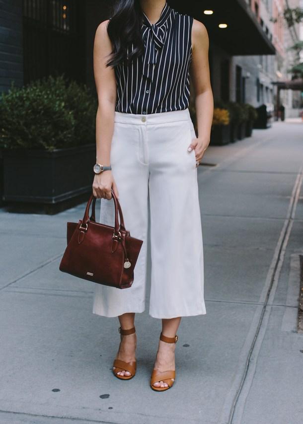 Women's Work Fashion Inspiration / White Wide Legged Pants by Ann Taylor