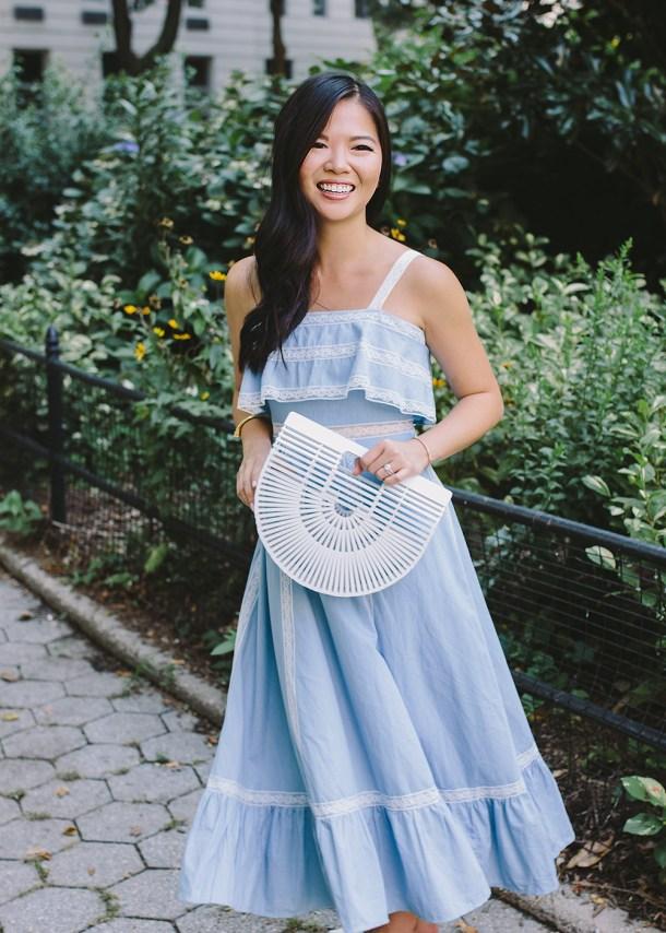Summer Style Inspiration / Light Blue Dress & White Bamboo Bag