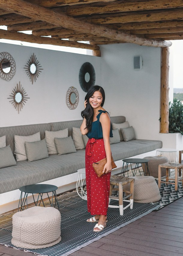 Casual Vacation Style / Maroon Wide Leg Pants