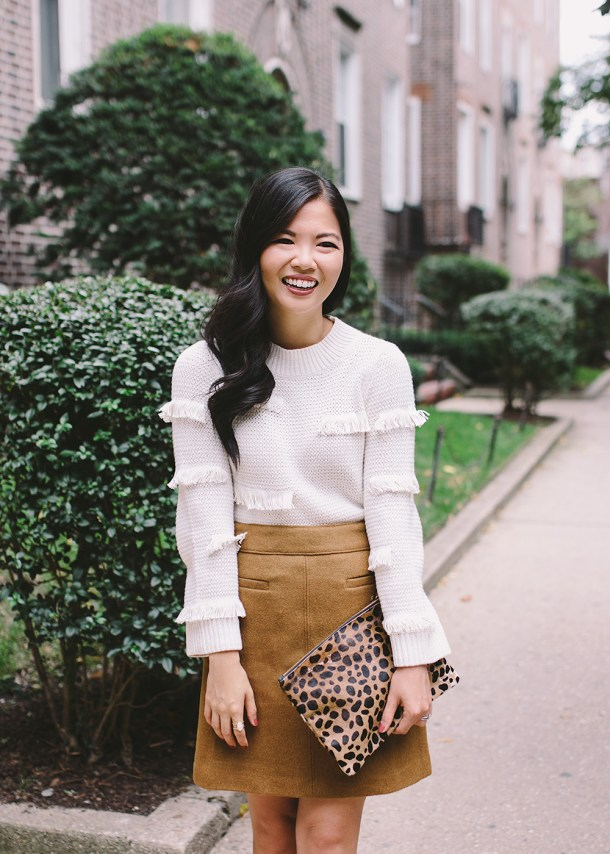 Fall Style Inspiration / Fringe Sweater & Camel Mini Skirt
