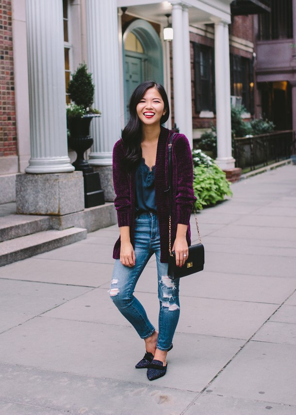 Fall Style Inspiration / Chenille Cardigan & Ripped Jeans