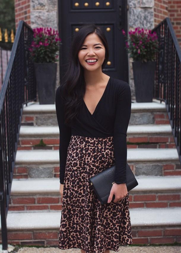 Fall Style Inspiration / Black Bodysuit & Leopard Midi Skirt